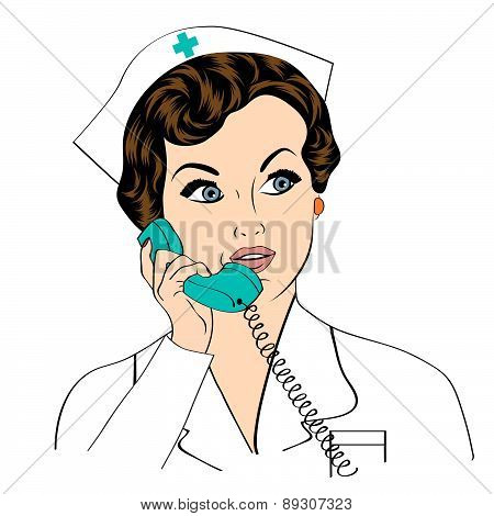 Beautiful Friendly And Confident Nurse At Phone