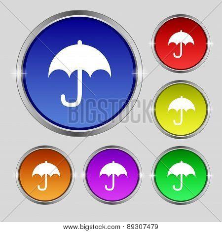 Umbrella Icon Sign. Round Symbol On Bright Colourful Buttons. Vector
