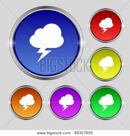 Storm Icon Sign. Round Symbol On Bright Colourful Buttons. Vector