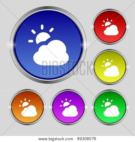 Weather Icon Sign. Round Symbol On Bright Colourful Buttons. Vector