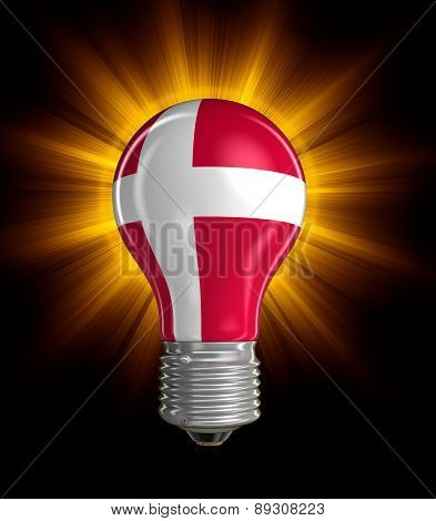 Light bulb with Danish flag (clipping path included)