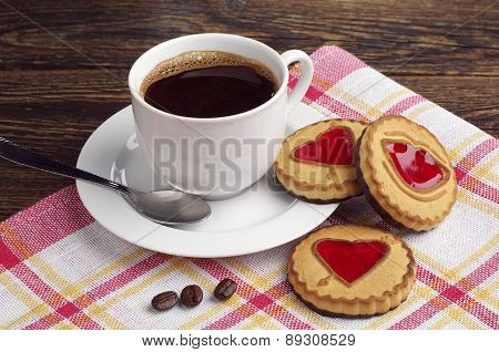 Coffee Cup And Cookies With Jam