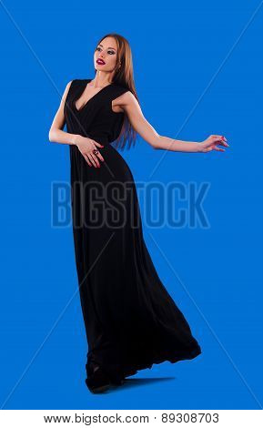 Elegant Girl In Fluttering Black Dress