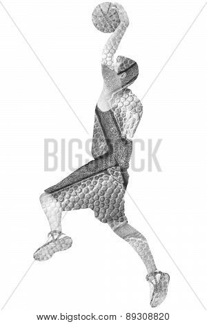 Basketball Player And Ball In Black And White