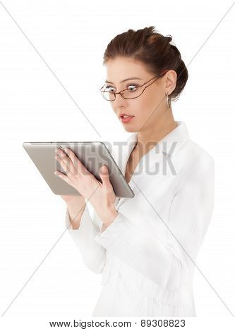 Woman Working On A Tablet.