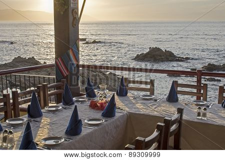 Restaurant Table Setting By The Ocean