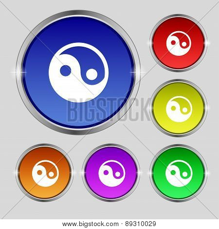 Ying Yang Icon Sign. Round Symbol On Bright Colourful Buttons. Vector