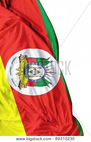 Rio Grande do Sul, Brazil waving flag on white background