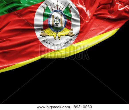 Rio Grande do Sul, Brazil waving flag on black background