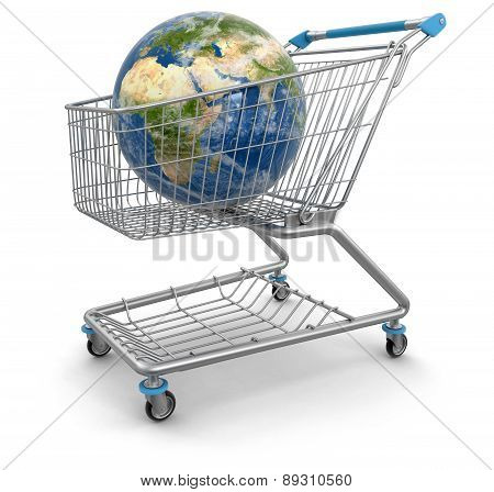 Shopping Cart with Globe (clipping path included)