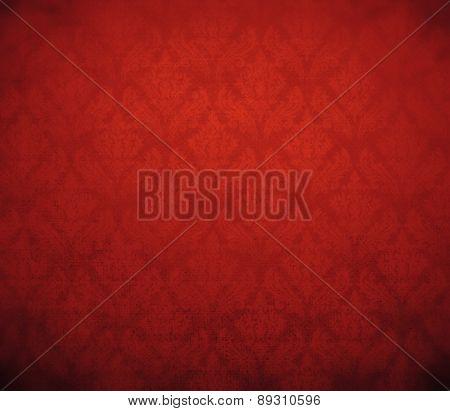 dark red wallpaper; baroque style.