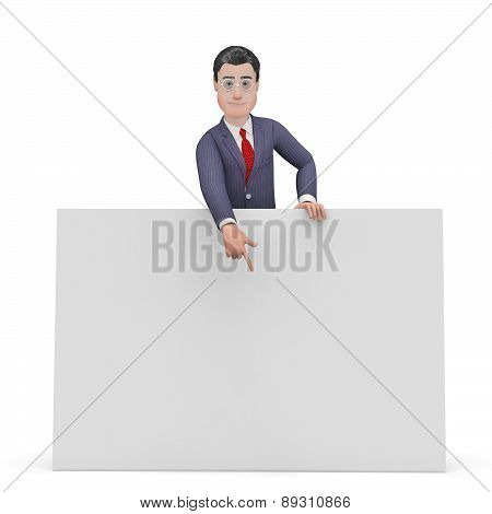 Businessman With Copyspace Shows Businessmen Sign And Message