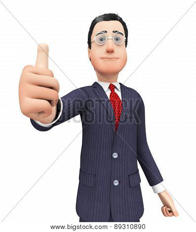 Businessman Shows Approval Represents Thumbs Up And Agreement