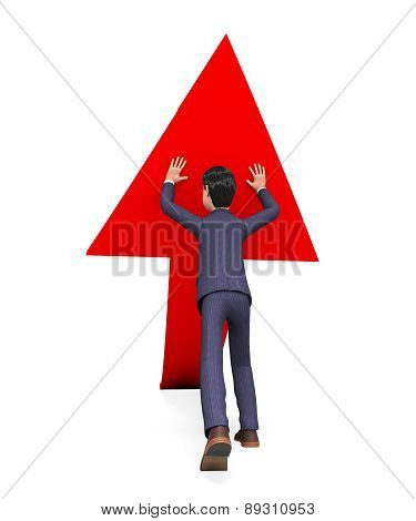 Businessman Pushing Arrow-up Means Biz Hold And Pushed