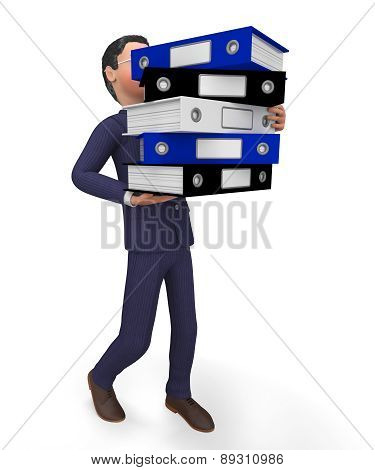 Businessman Carrying Files Shows Organize Commerce And Professional