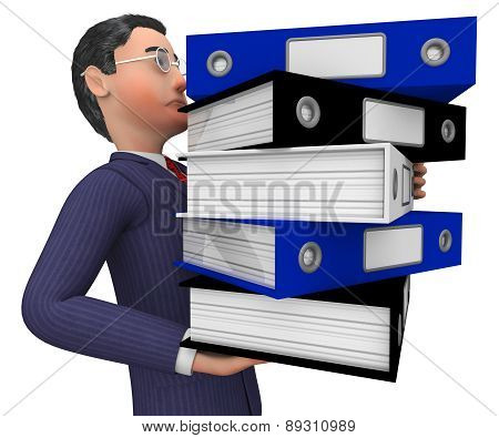 Businessman Carrying Files Represents Binder Organize And Answer