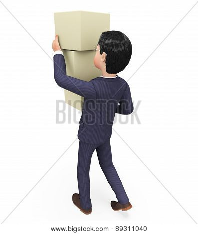 Businessman Carrying Boxes Indicates Trade Product And Packet