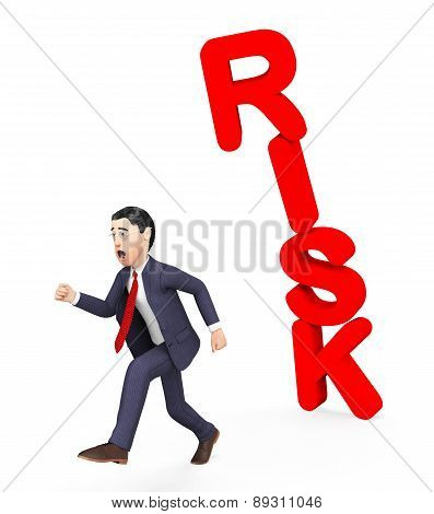 Businessman Avoiding Risk Indicates Unsteady Danger And Problems