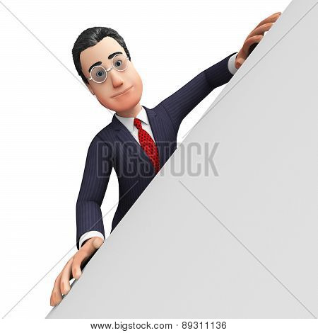 Businessman With Copyscpace Shows Blank Space And Biz