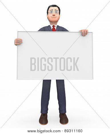 Businessman With Copyscpace Shows Text Space And Blank