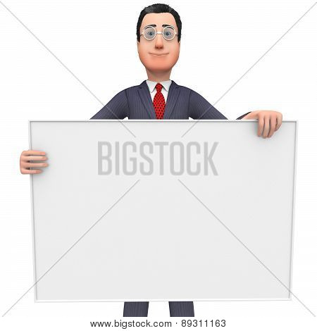 Businessman With Copyscpace Shows Text Space And Announcement