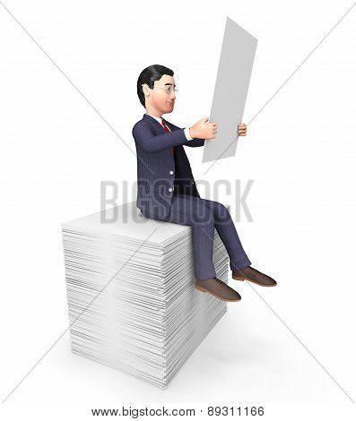 Businessman On Papers Represents Answers Corporation And Company