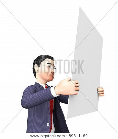 Businessman On Papers Indicates Page Answer And Help