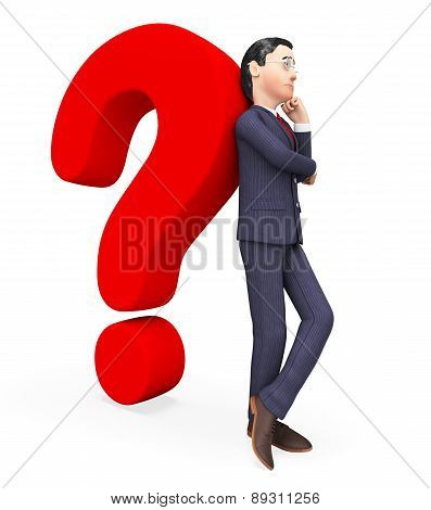 Confused Businessman Shows Frequently Asked Questions And Answer