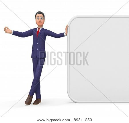 Businessman Presenting Represents Blank Space And Biz