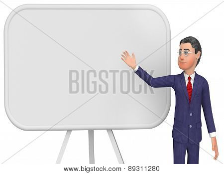 Businessman Presenting Indicates Blank Space And Board