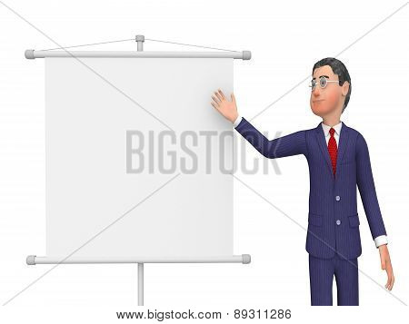 Businessman Presenting Shows Text Space And Biz