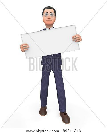 Businessman With Signboard Shows Blank Space And Announce