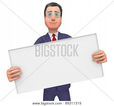 Businessman With Signboard Shows Text Space And Announce