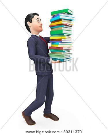 Businessman With Information Means Advisor Studying And Education