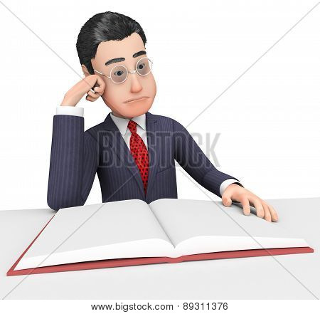 Businessman Reading Book Indicates School Reads And Corporation