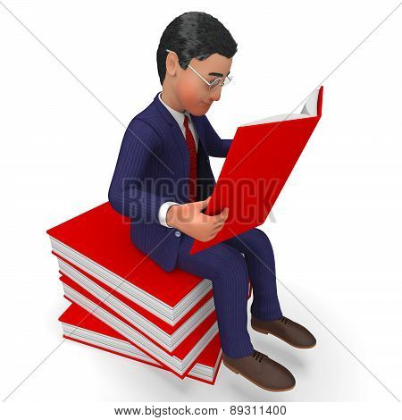Businessman Reading Books Indicates Faq Develop And Executive