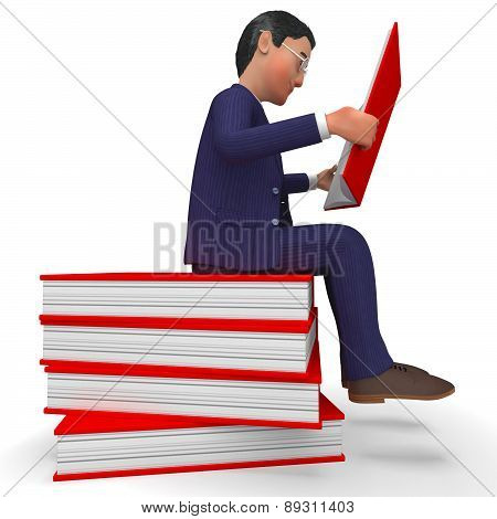 Businessman Reading Books Means Learned Education And School