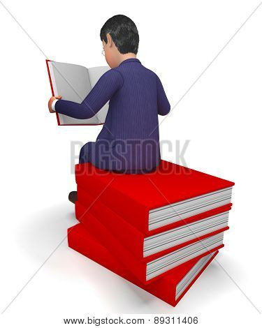 Businessman Reading Books Represents Businessmen School And Knowledge