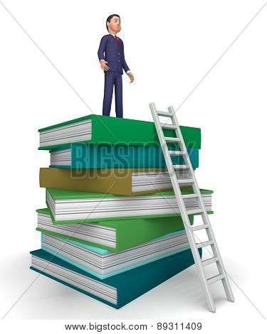 Businessman With Books Indicates Studying Answer And Ladders