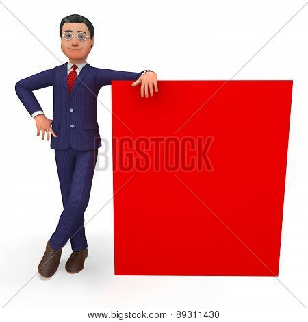 Businessman Beside Signboard Means Blank Space And Announcement