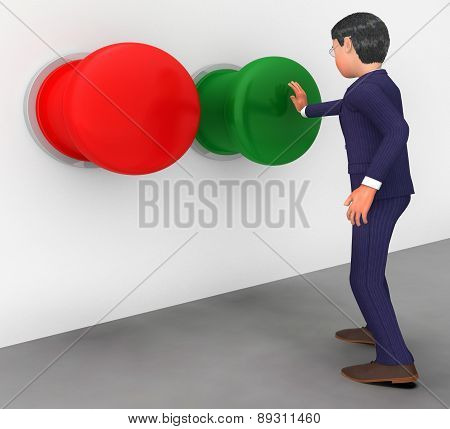 Businessman Pushes Button Shows Get Going And Activate