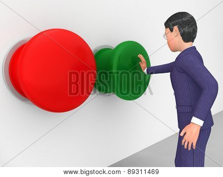 Businessman Pushes Button Represents Get Going And Biz