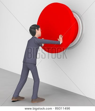 Businessman Pushed Button Shows Warning Sign And Biz