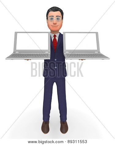 Businessman Holding Laptops Shows Empty Space And Computer