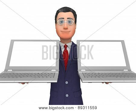 Businessman Holding Laptops Means Empty Space And Blank