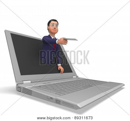 Businessman Working Online Indicates World Wide Web And Commerce