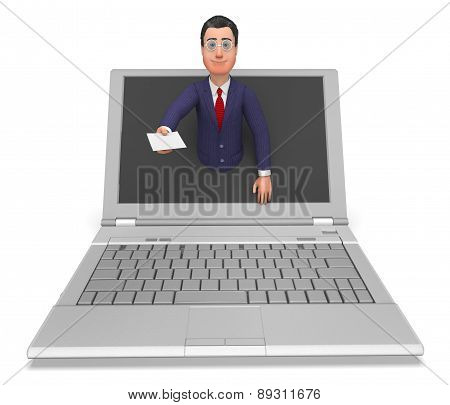 Businessman Working Online Shows Technology Connection And Company