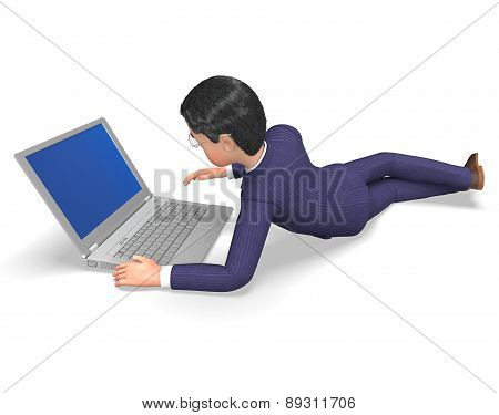 Businessman Online Means World Wide Web And Adult
