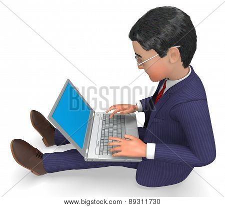 Businessman Typing Indicates World Wide Web And Businessmen