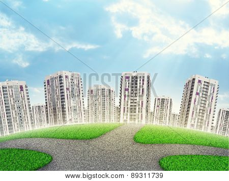 Cityscape under blue sky with clouds and crossroad